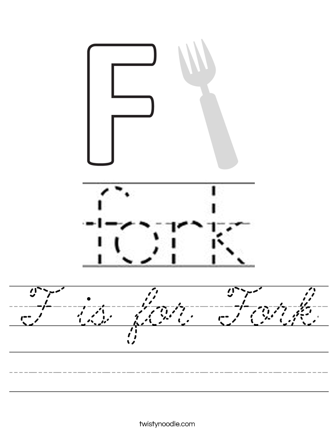 F is for Fork Worksheet