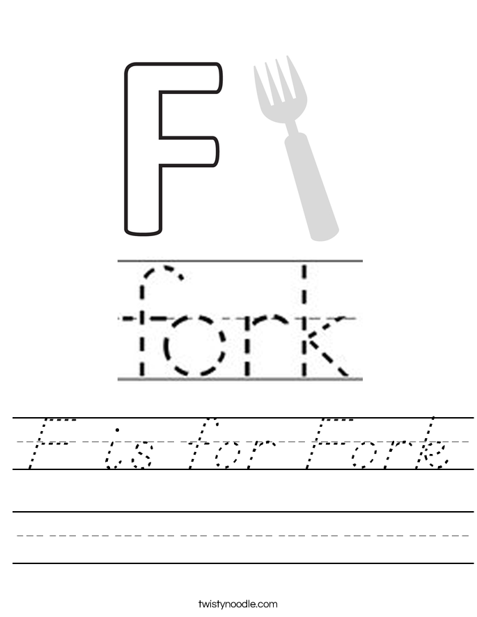 F is for Fork Worksheet