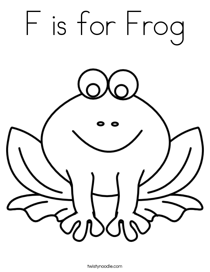 F is for Frog Coloring Page Twisty Noodle