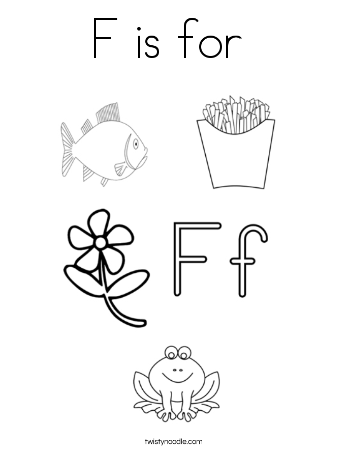 Letter f color pages murderthestout for Twisty noodle coloring pages