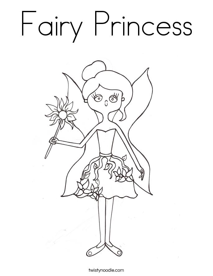 fairy princess coloring page twisty noodle. Black Bedroom Furniture Sets. Home Design Ideas
