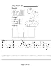Fall Activity Handwriting Sheet