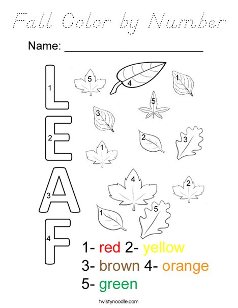 Fall Color by Number Coloring Page