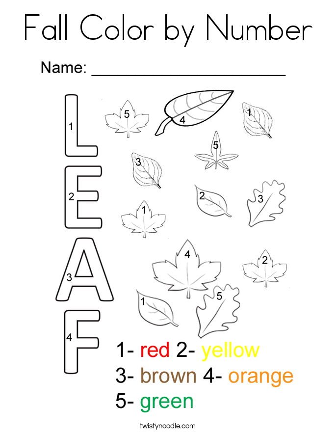 Fall Color By Number Coloring Page.