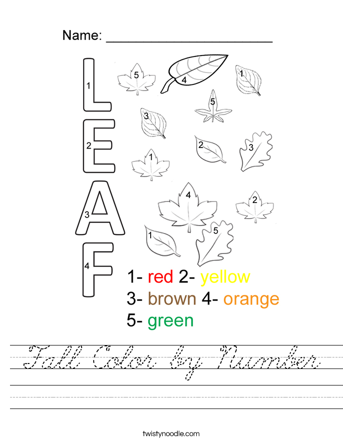 Fall Color by Number Worksheet