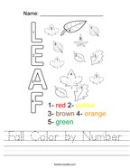 Fall Color by Number Handwriting Sheet
