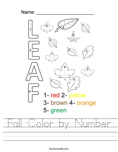 picture relating to Fall Color by Number Printable identify Tumble Shade as a result of Range Worksheet - Twisty Noodle