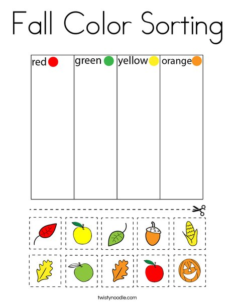 Fall Color Sorting Coloring Page