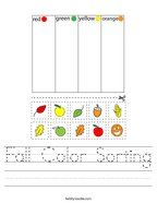 Fall Color Sorting Handwriting Sheet