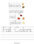 Fall Colors Handwriting Sheet
