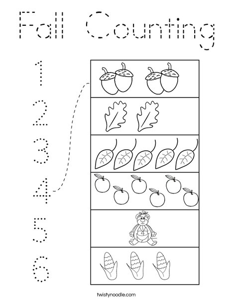 Fall Counting Coloring Page