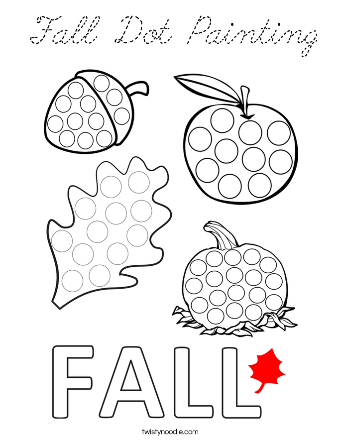 Fall Dot Painting Coloring Page - Cursive - Twisty Noodle