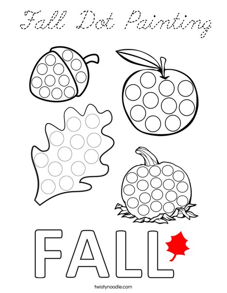 Fall Dot Painting Coloring Page