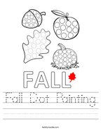 Fall Dot Painting Handwriting Sheet