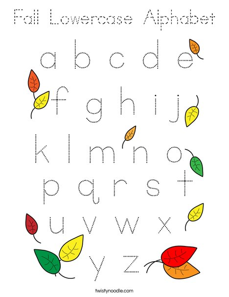 Fall Lowercase Alphabet Coloring Page
