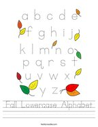 Fall Lowercase Alphabet Handwriting Sheet