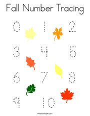Fall Number Tracing Coloring Page
