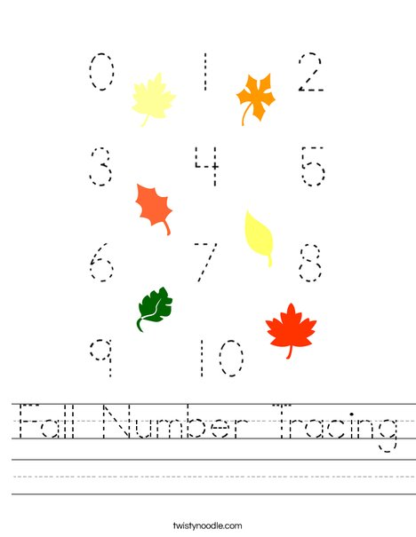 Fall Number Tracing Worksheet