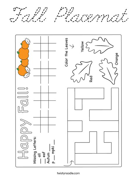 Fall Placemat Coloring Page