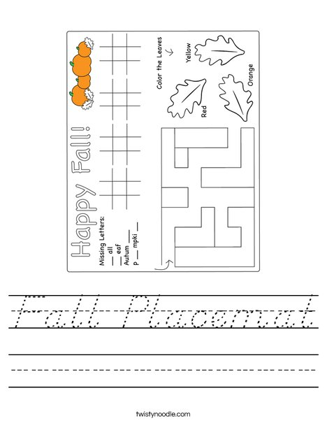 Fall Placemat Worksheet