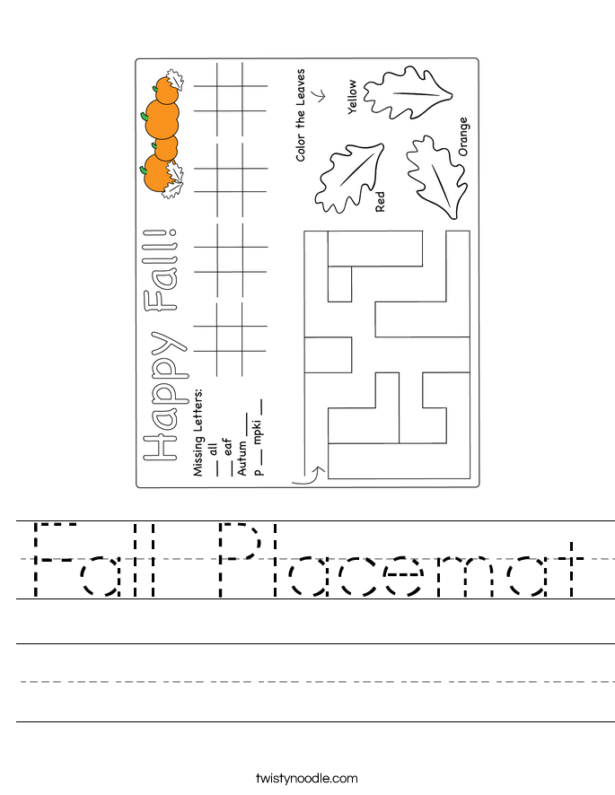 Fall Placemat Worksheet