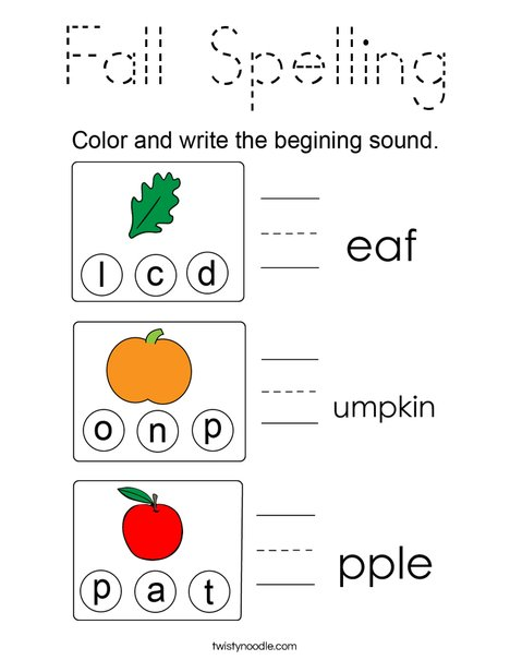 Fall Spelling Coloring Page