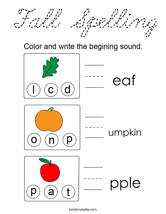 Fall Spelling Coloring Page - Cursive - Twisty Noodle