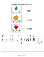 Fall Spelling Handwriting Sheet