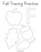 Fall Tracing Practice Coloring Page