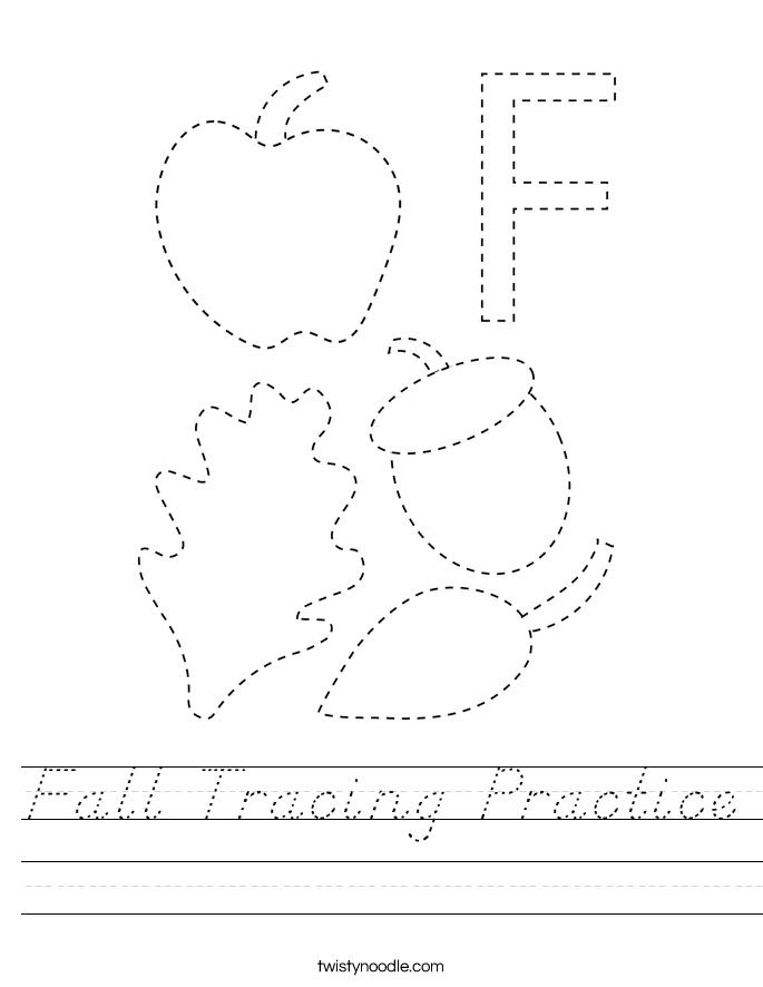 Fall Tracing Practice Worksheet