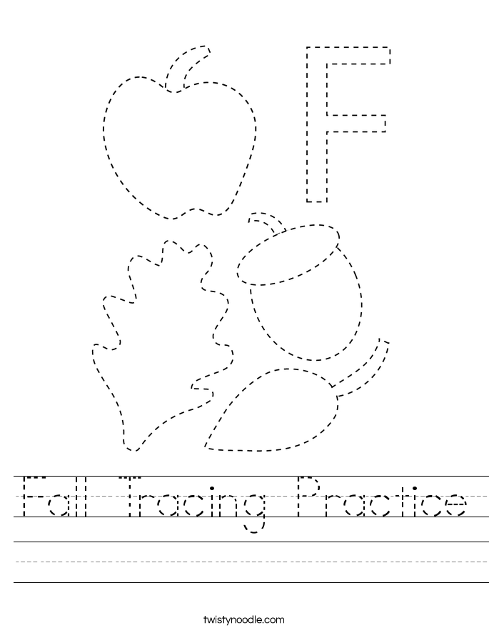 Fall Tracing Practice Worksheet