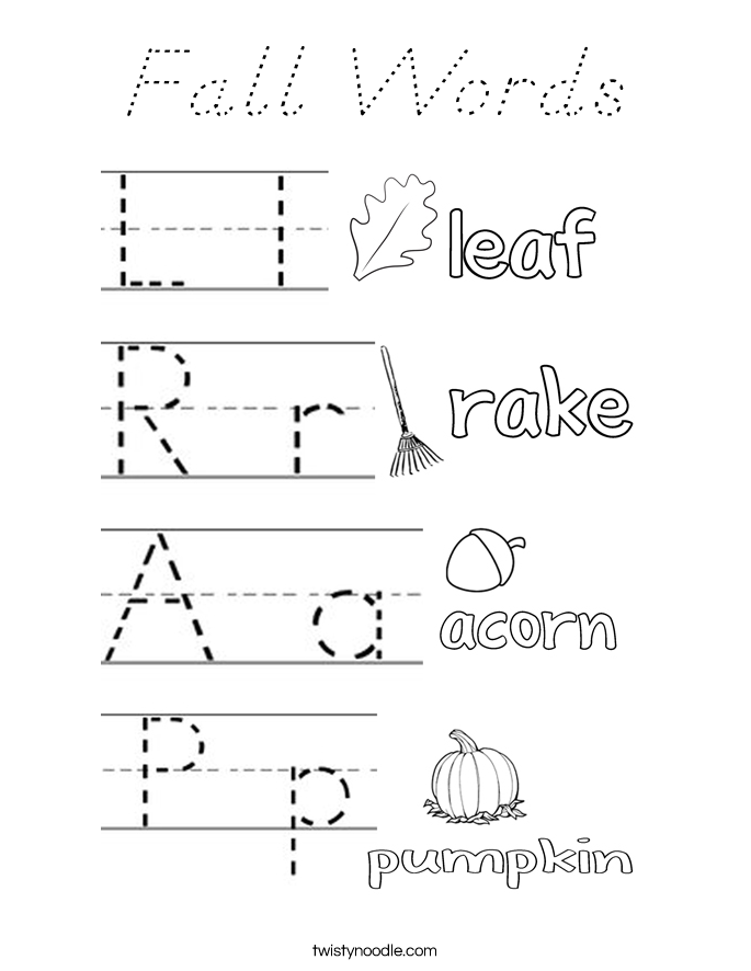 Fall Words Coloring Page