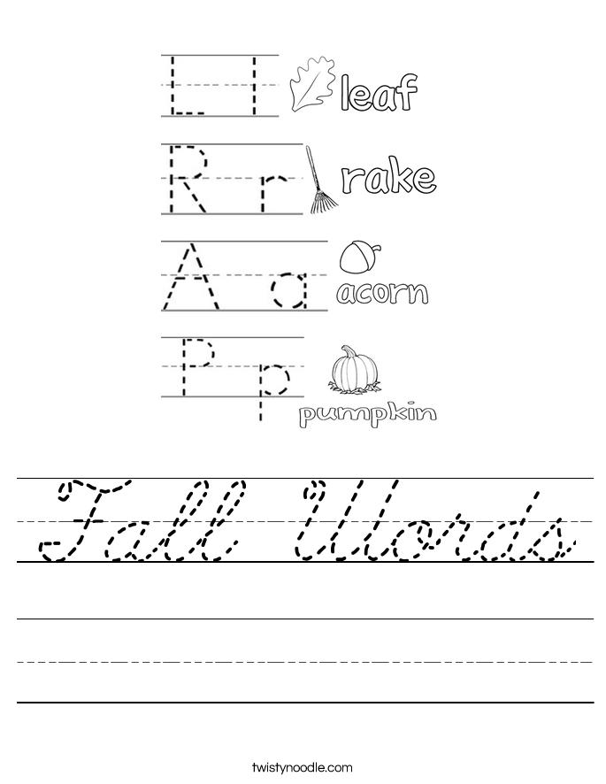 Fall Words Worksheet