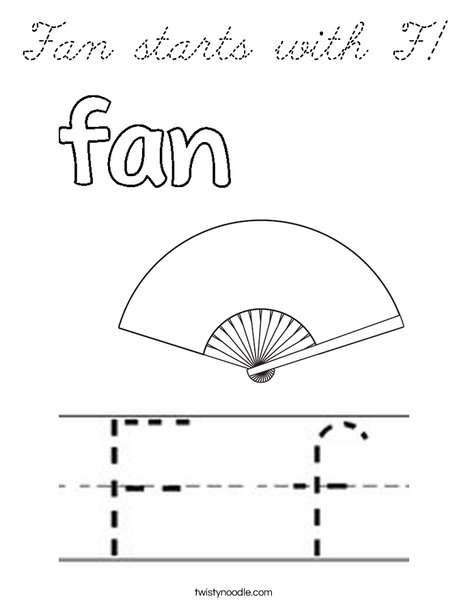 Fan starts with F! Coloring Page