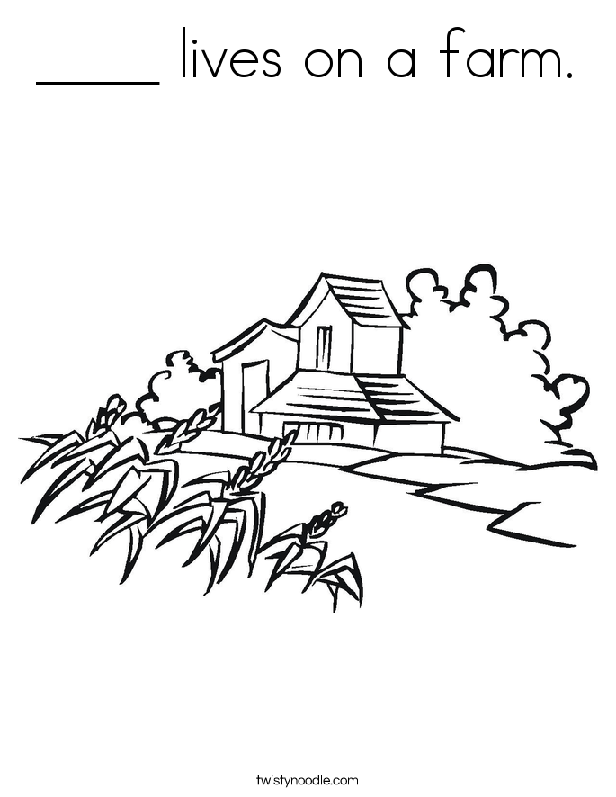 ____ lives on a farm. Coloring Page