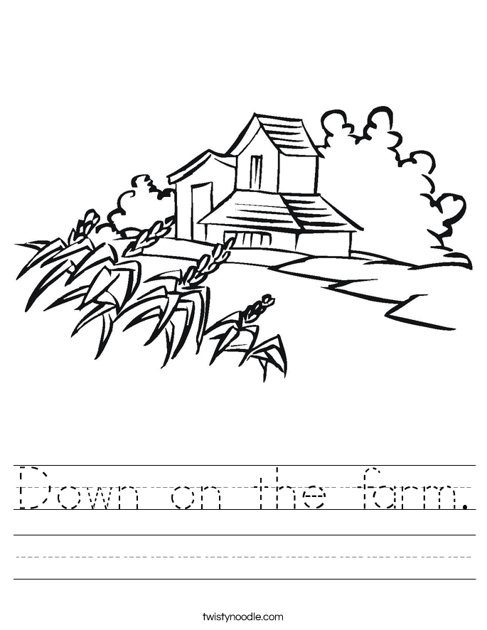 Down on the farm. Worksheet