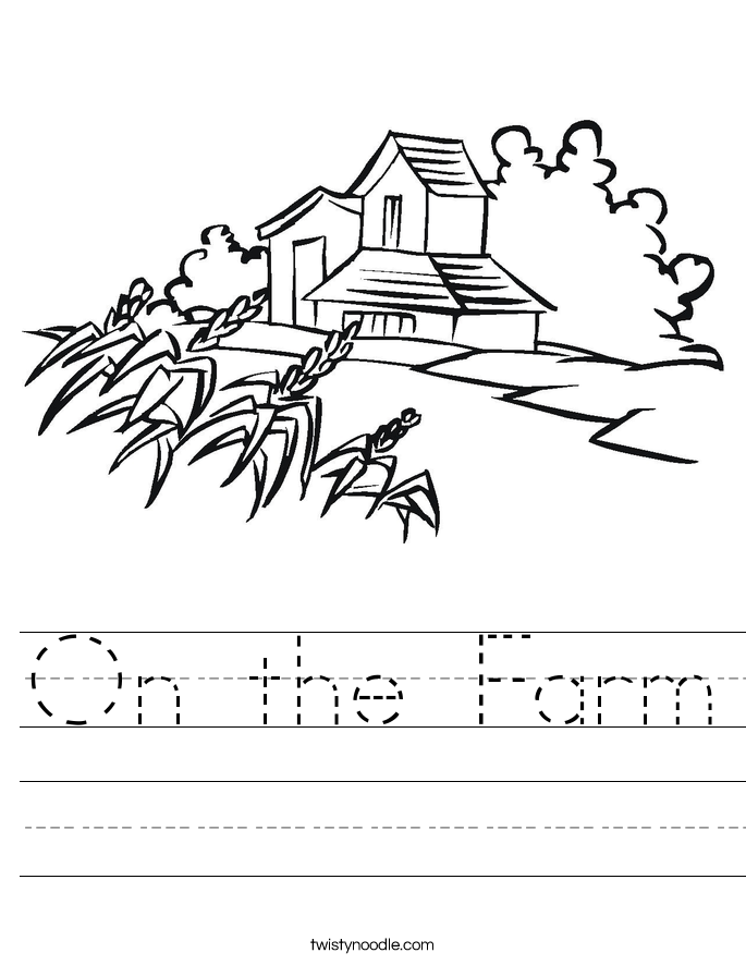 On the Farm Worksheet Twisty Noodle – Farm Worksheets