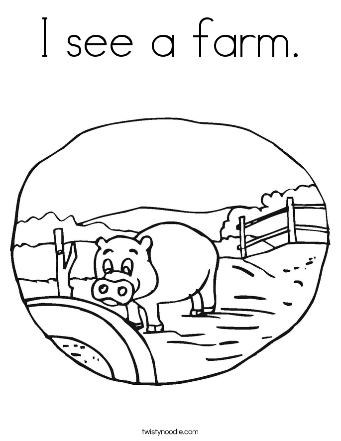 I see a farm. Coloring Page
