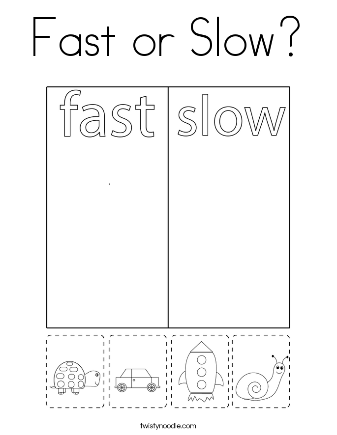 Fast or Slow? Coloring Page