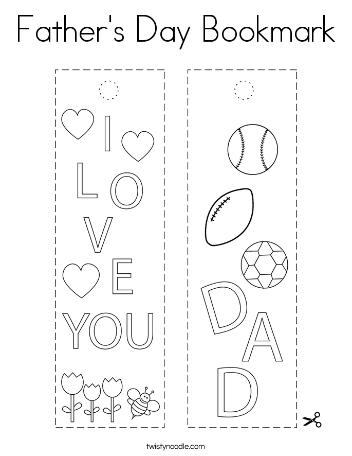 Father's Day Bookmark Coloring Page - Twisty Noodle
