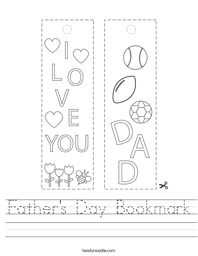 Father's Day Bookmark Worksheet