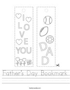 Father's Day Bookmark Handwriting Sheet