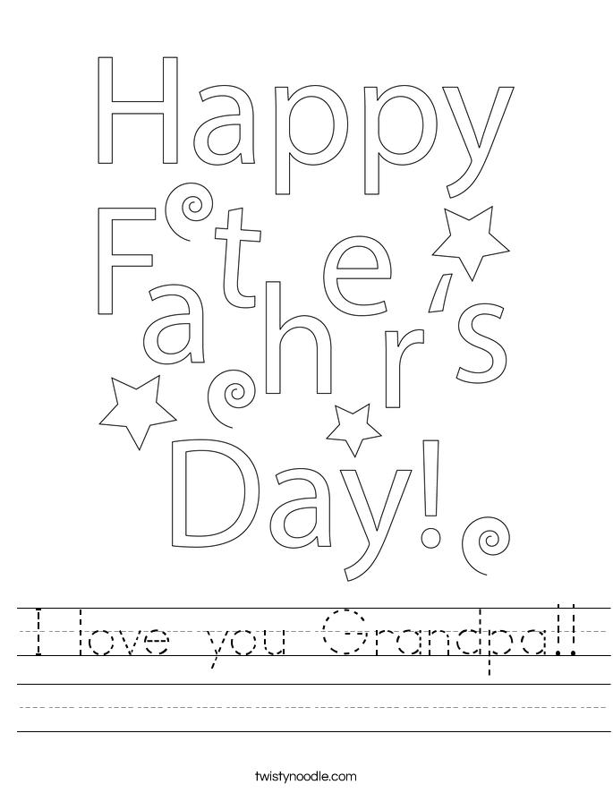 I love you Grandpa!! Worksheet