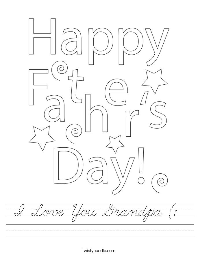 I Love You Grandpa (:  Worksheet