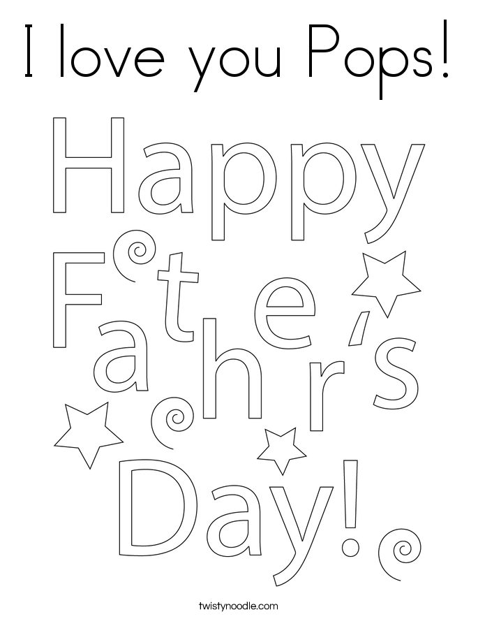 I love you Pops! Coloring Page