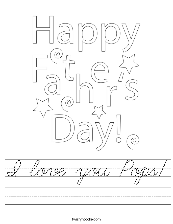 I love you Pops! Worksheet