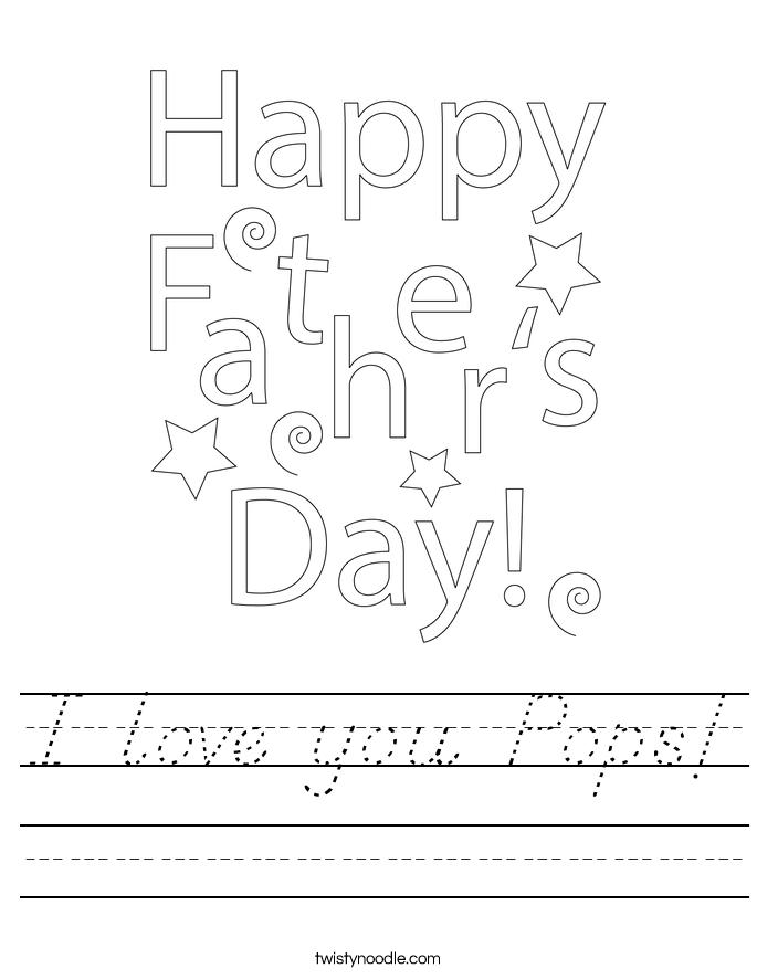 I love you Pops! Worksheet