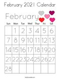 February 2021 Calendar Coloring Page