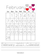 February 2021 Calendar Handwriting Sheet