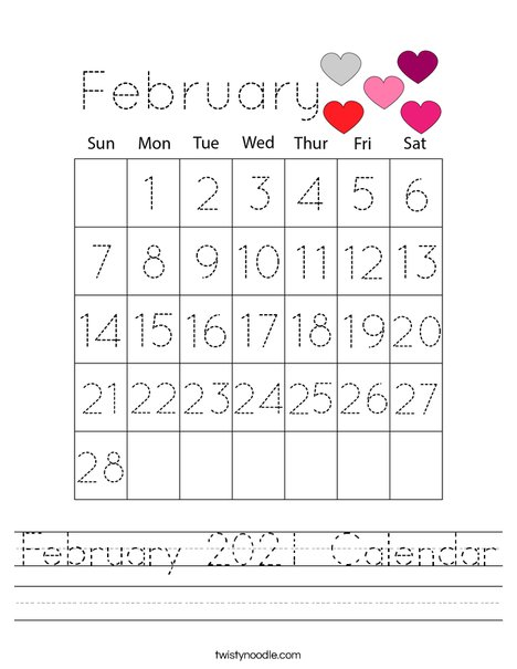 February 2021 Calendar Worksheet